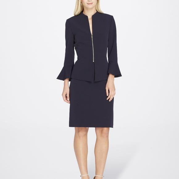 0f74170db2 Tahari Skirts | Asl Bellsleeve Crepe Skirt Suit Navy | Poshmark